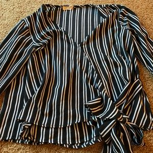 Black and white striped wrap top with bell sleeves
